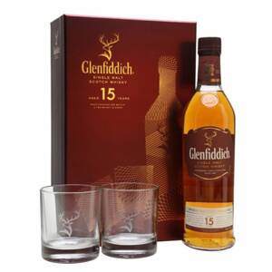 Glenfiddich 15 Years Old + 2 sklenice